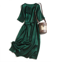 Dress Autumn 2020 Dark green bat sleeve 160/84B(M),165/88B(L),170/92B(XL) Mid length dress singleton  elbow sleeve commute Crew neck Loose waist Socket Bat sleeve Type H Pu Xu Retro Bandage A0430 More than 95% silk