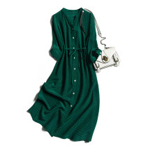 Dress Autumn 2020 White dot button on green background 160/84B(M),165/88B(L),170/92B(XL) Mid length dress singleton  Nine point sleeve commute Half open collar Loose waist Solid color Single breasted Type H Pu Xu Retro Button A0540 More than 95% silk