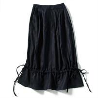 skirt Winter of 2019 160/84B(M),165/88B(L),170/92B(XL) Black skirt with drawstring Mid length dress Natural waist Type H F2149 Pu Xu silk