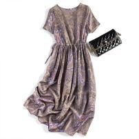Dress Spring 2020 Purple retro Drawstring M,L,XL Mid length dress singleton  Short sleeve commute Crew neck Elastic waist Socket Type H Pu Xu Retro Drawstring A0718 51% (inclusive) - 70% (inclusive) silk