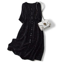 Dress Autumn of 2019 White dots on black background M,L,XL Mid length dress singleton  Nine point sleeve commute V-neck Loose waist Dot Single breasted routine Type H Pu Xu Retro Button A3339 More than 95% silk