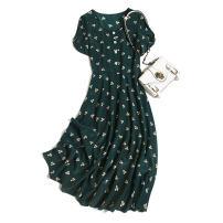 Dress Spring 2021 M,L,XL,2XL Mid length dress singleton  Short sleeve commute Crew neck Loose waist Decor Socket routine Type H Pu Xu Retro More than 95% silk