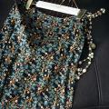 skirt Summer 2020 S,M,L,XL Saffron with green leaves Mid length dress commute Natural waist Type H F0159 More than 95% Pu Xu silk zipper Retro