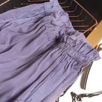 skirt Spring 2021 160/68B(M),165/72B(L) Grey purple wood ear pattern Mid length dress commute Natural waist A-line skirt F0230 More than 95% Pu Xu silk Retro