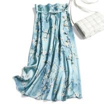 skirt Summer 2020 S,M,L,XL Grey blue pear flower Mid length dress commute Natural waist Type H F0149 More than 95% Pu Xu silk Retro