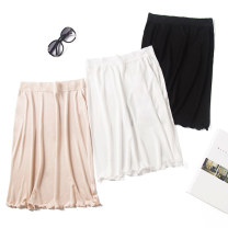 skirt Summer of 2018 M,L,XL White, black, off white (nude) Middle-skirt Versatile Natural waist skirt Solid color K019 30% and below silk Fungus, lace