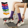 Socks / base socks / silk socks / leg socks female Other / other One size fits all (36-40) Light purple Beige light pink royal blue dark red light blue bright yellow orange yellow purple gray green black camel 1 pair routine High tube autumn Simplicity Solid color cotton Sanding Common crotch