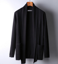 T-shirt / sweater Fashion City black routine Cardigan Lapel Long sleeves autumn Slim fit 2020 leisure time Simplicity in Europe and America youth routine Solid color