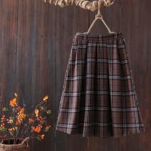 skirt Autumn 2020 M,L,XL Color 1, color 2, color 3, color 4 longuette commute Natural waist A-line skirt lattice Type A 25-29 years old polyester fiber pocket