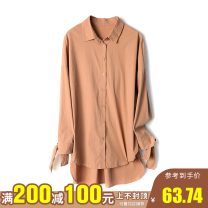 shirt Clay color XS,S,M,L,XL,XXL Spring 2021 other 96% and above Long sleeves Regular Polo collar Single row multi button 25-29 years old