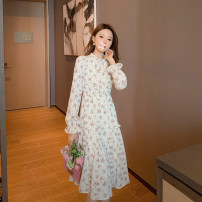 Dress Spring 2021 Misty blue, rose smoke pink, sunset warm tan S,M,L Mid length dress singleton  Long sleeves commute Half high collar Elastic waist Broken flowers other other Lotus leaf sleeve Others 25-29 years old Type A literature 81223L0994 30% and below other other