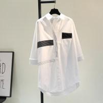 shirt white Average size Spring 2021 cotton 81% (inclusive) - 90% (inclusive) Long sleeves commute Medium length Single row multi button Korean version Cotton and hemp