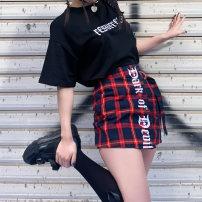 skirt Spring 2020 S,M,L gules Short skirt street High waist A-line skirt lattice Type A 18-24 years old 51% (inclusive) - 70% (inclusive) other Other / other other Embroidery Punk