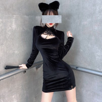 Dress Spring 2021 black S,M,L Short skirt singleton  Long sleeves street other High waist Solid color Socket One pace skirt routine Others 25-29 years old Type H Other / other Splicing polyester fiber hippie