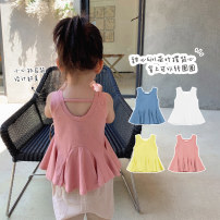 Vest sling Sleeveless summer Chen Chen's mother female There are models in the real shooting leisure time Solid color Other 100% Y1955 12 months, 18 months, 2 years old, 3 years old, 4 years old, 5 years old