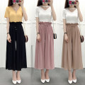 Casual pants Khaki, grey, black, pink Average size Spring of 2018 Ninth pants Wide leg pants low-waisted Versatile routine 25-29 years old 31% (inclusive) - 50% (inclusive) Other / other other Lotus leaf edge