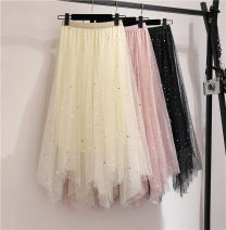 skirt Summer of 2019 Average size Black, apricot, pink longuette Versatile High waist Irregular Solid color Type A