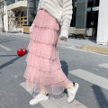 skirt Summer of 2018 Average size Mid length dress Versatile High waist Cake skirt Solid color Type A