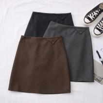 skirt Autumn 2020 S,M,L,XL Black, gray, brown Short skirt Versatile High waist other 30% and below