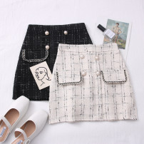 skirt Autumn 2020 S,M,L,XL Apricot, black Short skirt Versatile High waist other Type A 30% and below