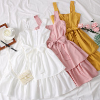 Dress Summer of 2019 Yellow, red, black, white, pink Average size Short skirt singleton  Sleeveless High waist Cake skirt camisole Type A 31% (inclusive) - 50% (inclusive)