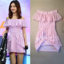 Dress Summer 2021 Elegant purple (about 45 days delivery) S,M,L Short skirt singleton  Short sleeve Sweet One word collar middle-waisted Solid color zipper A-line skirt Type A Ruffles, hollowed out, stitched, lace AKL0152 81% (inclusive) - 90% (inclusive) Lace cotton princess