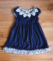 Dress navy blue female Xisong house 100cm,110cm,120cm,130cm,140cm Cotton 100% No season solar system Short sleeve Pure cotton (100% cotton content) Lotus leaf edge Class A