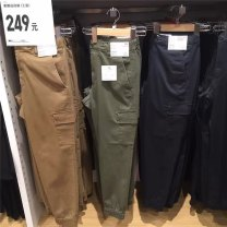 Casual pants Others Youth fashion S,M,L,XL thick trousers Other leisure Self cultivation Micro bomb autumn youth 2019 middle-waisted Little feet Overalls pocket No iron treatment cotton cotton More than 95%