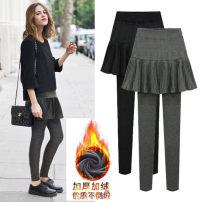 Women's large Winter of 2019 Black (with velvet), dark grey (with velvet), grey (without velvet), black (without velvet) M suggests 90-105 kg, l 105-120 kg, XL 120-135 kg, 2XL 135-150 kg, 3XL 150-165 kg, 4XL 165-180 kg, 5XL 180-195 kg, 6xl 195-220 kg Other oversize styles thickening Short skirt