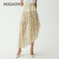 skirt Summer of 2019 XS,S,M,L,XL,XXL Broken flowers on yellow background MJ22EB068 Migaino / manyanu