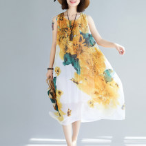 Dress Summer 2021 Red, yellow Average size longuette singleton  Sleeveless commute Crew neck Loose waist Decor Socket other other Others 35-39 years old Type A Other / other Korean version 51% (inclusive) - 70% (inclusive) other cotton