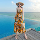 Dress Summer 2020 Ginger, sky blue S,M,L longuette singleton  Sleeveless Sweet High waist Decor Socket Ruffle Skirt other camisole 25-29 years old Type A Miss Fox Ruffles, bandages, prints T5505 More than 95% other polyester fiber Bohemia