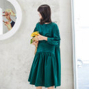Women's large Spring 2021, summer 2021 Picture color Large L, large XL, large XXL, large XXL Dress singleton  commute easy moderate Socket Long sleeves Solid color Korean version Crew neck cotton Three dimensional cutting routine B2135 25-29 years old Button Medium length Pleated skirt