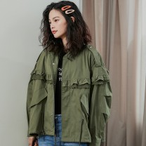 Women's large Spring 2021 Picture color Big L, big XL, big XXL Windbreaker singleton  commute easy moderate Cardigan Long sleeves Solid color Korean version stand collar routine other Three dimensional cutting routine B2000 25-29 years old