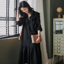 Women's large Spring 2020 Picture color Large XL, large XXL, large XXL, large XXXXL, large XXXXL, large L Dress singleton  commute easy moderate Socket Long sleeves Korean version Half open collar other Three dimensional cutting bishop sleeve 25-29 years old fungus Medium length Ruffle Skirt bow