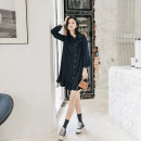 Women's large Autumn of 2019 Picture color Large XL, large XXL, large XXL, large XXXXL, large XXXXL, large L Dress singleton  commute easy moderate Socket Long sleeves Korean version Crew neck routine other Three dimensional cutting routine B2022 25-29 years old Middle-skirt Pleated skirt