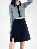 skirt Summer 2021 S. M, l, XL, 2XL, 3XL, one size fits all Black irregular skirt, grey T-shirt Short skirt commute High waist Irregular Solid color Type A 18-24 years old acrylic fibres Zipper, stitching Korean version