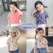 T-shirt Yiqi baby 90cm,100cm,110cm,120cm,130cm female summer Short sleeve Crew neck leisure time There are models in the real shooting nothing cotton Cartoon animation Cotton 100% 2 years old, 3 years old, 4 years old, 5 years old, 6 years old, 7 years old, 8 years old