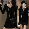 Sports dress female Other / other Black, white, Long Sleeve Black, long sleeve grey S [suitable for 60-85 Jin], m [suitable for 85-105 Jin], l [suitable for 105-125 Jin] Spring 2021 Socket V-neck cotton
