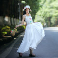 Dress Summer 2020 White, red S,M,L,XL Mid length dress singleton  Sleeveless commute Elastic waist zipper A-line skirt camisole 30-34 years old Type A Luozhu ethnic style Embroidery, lace up, stitching, zipper C19234