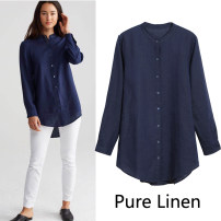 Women's large Spring 2018, summer 2018, autumn 2018, winter 2018 Navy Blue American XS, American s, American m, American L, American XL, American 1X, American 2x, American 3x shirt singleton  street easy thin Cardigan Long sleeves Solid color Medium length hemp routine 96% and above