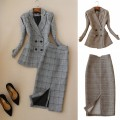 Professional dress suit S,M,L,XL Grey check, coffee Winter 2020 Long sleeves Jacket, other styles Suit skirt 25-35 years old IN AUGUST 19TH 30% and below Viscose