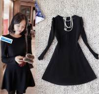 Dress Spring 2021 Black, rose, light blue S,M,L,XL Middle-skirt singleton  Long sleeves commute Crew neck High waist Solid color Big swing routine Others 25-29 years old Type A IN AUGUST 19TH Korean version Splicing More than 95% knitting polyester fiber