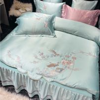 Bedding Set / four piece set / multi piece set Polyester (polyester fiber) Embroidery Plants and flowers 133x72 Other / other cotton 4 pieces 60 First Grade European style 100% cotton satin-like cotton fabric Reactive Print  Thermal storage