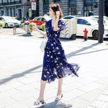 Dress Summer 2020 Blue red M L XL XXL longuette singleton  Short sleeve commute V-neck High waist Decor Socket Ruffle Skirt Lotus leaf sleeve Others 25-29 years old Type A Aiqinfuhai Korean version Lace up printing with ruffles More than 95% Chiffon polyester fiber Polyester 100%