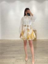Professional dress suit 0,1,2 White shirt, yellow skirt Summer 2021
