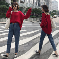 Women's large Winter 2020, autumn 2020 blue Big L, big XL, big XXL, big XXXL, big XXXXL, big s, M Jeans commute easy moderate Solid color Korean version Denim Three dimensional cutting Yao Yi 18-24 years old Button Ninth pants 121g / m ^ 2 (including) - 140g / m ^ 2 (including)