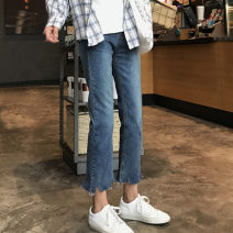Women's large Winter of 2019, autumn of 2019 Jeans singleton  commute Straight cylinder moderate Solid color Korean version Denim, polyester, cotton Three dimensional cutting Yao Yi 18-24 years old pocket 81% (inclusive) - 90% (inclusive) Ninth pants tassels Contains (9 oz) - 11 oz