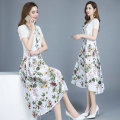 Dress Summer of 2019 Green flowers, blue flowers, blue and red flowers M. L, XL, 2XL, 3XL, shopping cart + collection + pay attention to the store, enjoy priority delivery, take 20 rolls, take 20 rolls, reduce 20 rolls Two piece set Short sleeve commute Crew neck High waist Decor Socket Big swing