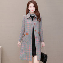 woolen coat Autumn 2020 M. L, XL, 2XL, 3XL, 4XL, shopping cart + collection + pay attention to the store, enjoy priority delivery, get 20 coupons, take a reduction of 20 coupons Red, yellow polyester 31% (inclusive) - 50% (inclusive) Medium length Long sleeves commute Single breasted routine lattice